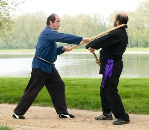 exercices de Wing Chun Kung Fu avec les batons