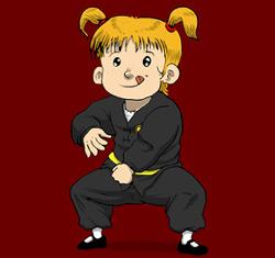 Fille faisant du kung fu et des arts martiaux