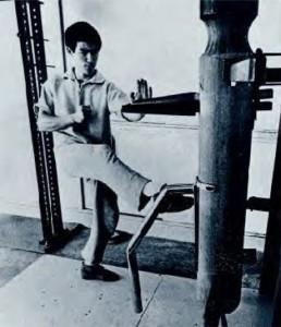 Bruce lee au manequin de bois